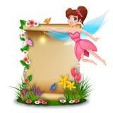 Hada linda con el papel en blanco en tiempo de primavera libre illustration