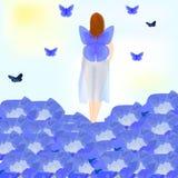Hada que camina en las flores azules Fotos de archivo libres de regalías
