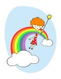 Hada sobre el arco iris stock de ilustración