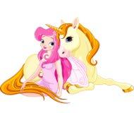 Hada y unicornio Imagen de archivo