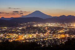 Hadano city nightscape view with mountain Fuji Stock Image