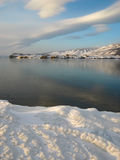 Hadarta cape on Lake Baikal. Freeze-up on Maloye more strait. National park Pribaikalskiy Royalty Free Stock Photos