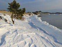 Hadarta cape on Lake Baikal. Maloye more strait. Freeze up. National park Pribaikalskiy Stock Image
