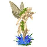 Hadas de la estatua con las alas en un fondo blanco ilustración del vector