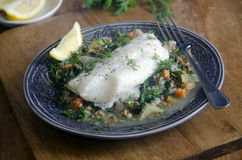 Haddock with lentils Stock Photos