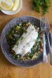 Haddock with lentils Royalty Free Stock Photos