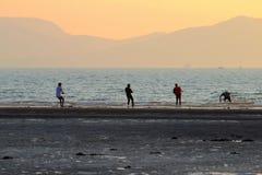 Hade рыболовов хорошее перетаскивание на пляже стоковая фотография