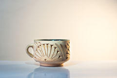Hade made clay cup  Stock Photo