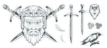 Hades - ο Θεός αρχαίου Έλληνα του υπόκοσμου των νεκρών ελληνική μυθολογία Ξίφος της κόλασης και του κορακιού Olympian Θεοί στοκ φωτογραφία