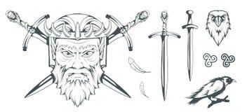 Hades - бог древнегреческия организованной преступности умерших греческая мифология Шпага ада и ворона Боги олимпийца стоковая фотография