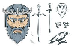 Hades - the ancient Greek god of the underworld of the dead. Greek mythology. Sword of hell and the raven. Olympian gods. Collection. Hand drawn Man Head vector illustration