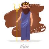 Hades. Greek gods. Vector. Illustration. Cartoon character Isolated Flat Mythology Royalty Free Stock Photos