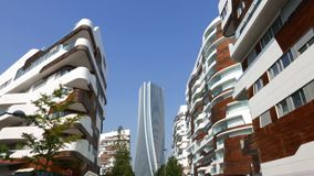 Hadid Tower in `City Life` complex in 3 Torri Milan place stock footage