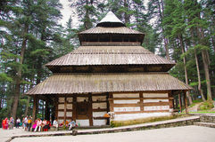 Hadimba Temple in Manali. Is dedicated to a goddess, whose footprints are enshrined in the cave in the temple. The site is popular among Indians Stock Image