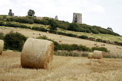 Hadleigh castle , essex with bails of hay in the foreground Stock Photo