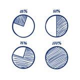 Hadn-drawn vector feltip pen pie chart icons set. Hadn-drawn vector feltip pen pie chart icons doodle set Royalty Free Stock Photo