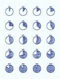 Hadn-drawn vector feltip pen pie chart icons set. Hadn-drawn vector feltip pen pie chart icons doodle set Royalty Free Stock Image