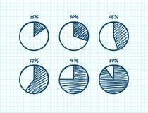Hadn-drawn vector feltip pen pie chart icons set. Hadn-drawn vector feltip pen pie chart icons doodle set Stock Photo