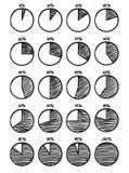 Hadn-gezeichnete Vektor feltip Stift-Kreisdiagrammikonen eingestellt Lizenzfreie Stockfotografie