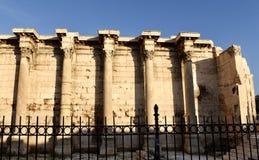 Hadrian图书馆的西部墙壁  库存图片