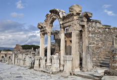 Hadrian寺庙, Ephesos,土耳其 免版税库存照片