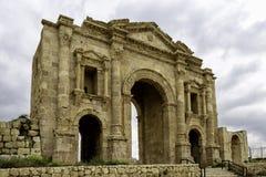 Hadrian曲拱在杰拉什,约旦 免版税图库摄影