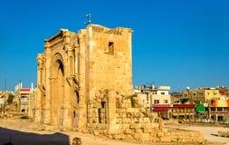 Hadrian曲拱在杰拉什 免版税库存图片