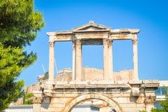 Hadrian曲拱在雅典,希腊 库存图片