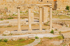 Hadrian的图书馆在雅典,希腊 库存图片