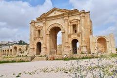 Hadrian的曲拱在杰拉什,约旦 免版税库存照片