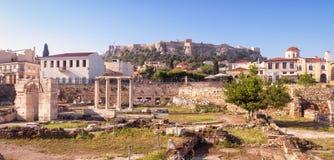 Hadrian,雅典,希腊图书馆的全景  免版税图库摄影