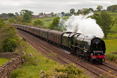 The Hadrian. Preserved steam locomotive 46233 Duchess of Sutherland heads the Hadrian through Lazonby on June 2, 2012, on the Settle to Carlisle railway Stock Photos