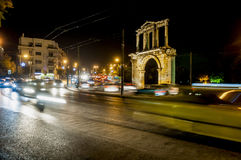 Hadrian Gate. At night, athens, greece Royalty Free Stock Photos