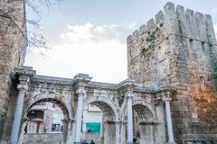 Hadrian gate. Hadrian's wall was built in the year 130 after the Roman Emperor Hadrian visited Antalya (Turkey Royalty Free Stock Images