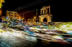 Hadrian Gate saturday night car fever. Hadrian gate at night with many cars passing through the night Stock Photography