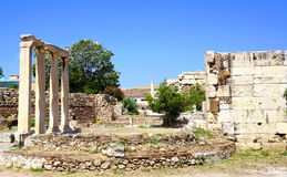 Hadrian Library in Athene, Griekenland Royalty-vrije Stock Afbeeldingen