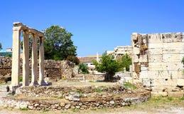 Hadrian Library i Aten, Grekland Royaltyfria Bilder