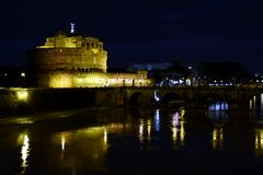 Hadrian Mausoleum in Rome. Night view of Hadrian Mausoleum Castel Sant`Angelo and the Tiber River in Rome, Italy Stock Photos