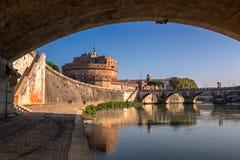 Hadrian Mausoleum and Tiber River Embankment, Rome, Italy Stock Photo