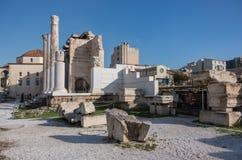 Hadrian ` s图书馆的遗骸在Monastiraki广场,雅典, Gr 库存图片