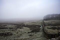 Hadrian ` s墙壁在一冷,有薄雾的天 免版税库存照片