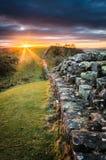 Hadrian ` s墙壁,诺森伯兰角 库存照片