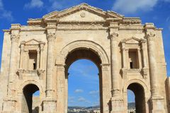 Hadrian's Arch. At the ancient city of Jerash Royalty Free Stock Photography