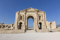 Hadrian`s Arch in the ancient roman town Jerash in Jordan. Hadrian`s Arch in the ancient roman town Jerash in North Jordan Royalty Free Stock Image