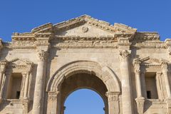 Hadrian`s Arch in the ancient roman town Jerash in Jordan. Hadrian`s Arch in the ancient roman town Jerash in North Jordan Stock Images