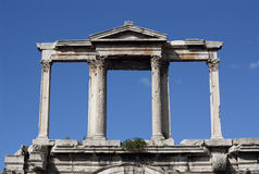 Hadrian's Arch, Athens (Greece). Hadrian's marble Arch (Pyli Adrianou) in Athens, Greece, erected by the emperor Hadrian in AD 131 to mark the division between Royalty Free Stock Images