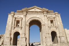 Hadrian's Arch in Jerash Stock Photos