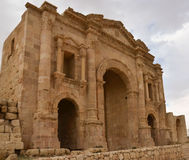 Hadrian's Arch, Jerash. Hadrian's Arch in Jerash, Jordan, built in 129 AD to commemorate the visit of Emperor Hadrian to the city Stock Images