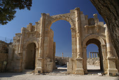 Hadrian's Arch of Triumph in Jerash, Jordan Royalty Free Stock Photo