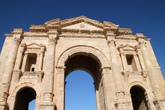 Hadrian's Arch of Triumph in Jerash, Jordan. Jerash is known for the ruins of the Greco-Roman city of Gerasa, also referred to as Antioch on the Golden River. It Stock Photos
